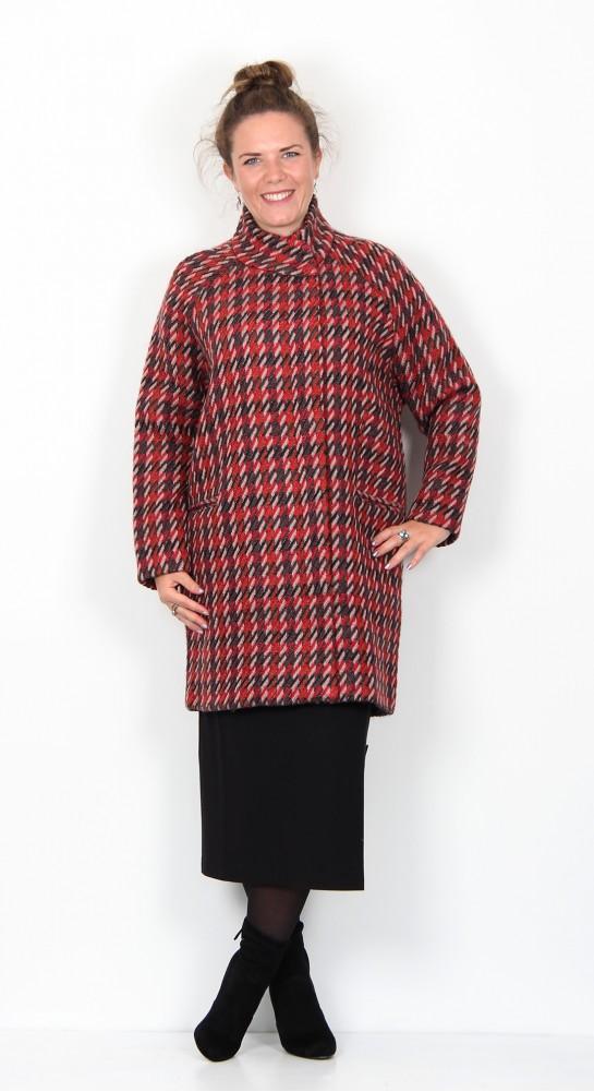 Zilch Clothing Funnel Neck Tweed Coat Lipstick