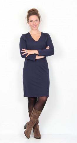 Zilch Clothing Jersey V-Neck Dress Navy