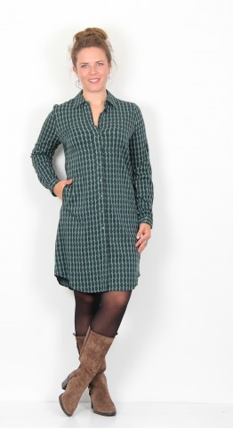 Zilch Clothing Moon Button Shirt Dress Steel